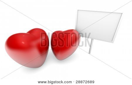 Valentine's Day image, two glossy hearts with blank billboard