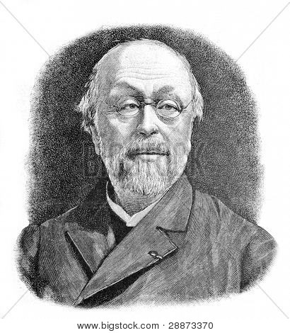 French Hyppolyte-Adolphe Taine. Engraving by Shyubler. Published in magazine