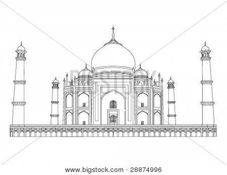 Taj Mahal vector outlines in very high detail