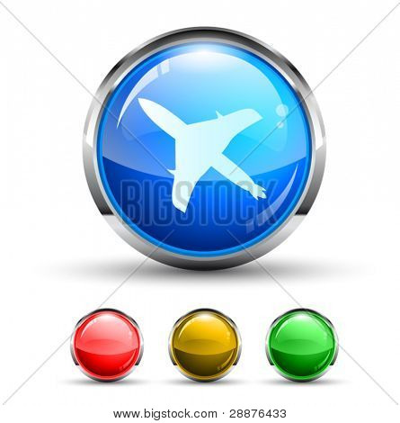Airplane Cristal Glossy Button with light reflection and Cromed ring. 4 Colours included.