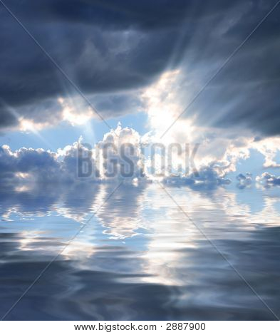 Rays Of Sunshine Reflecting In Water