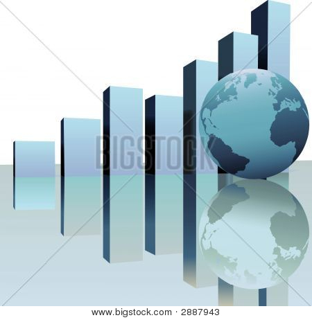 Global Profit Growth Charts With World Globe