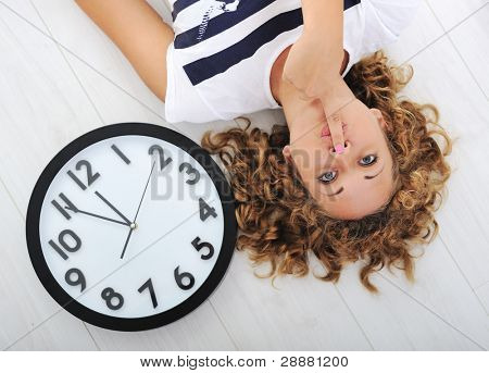 Girl and clock silence secret