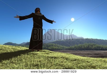 A silhouette of a priestin in the background of the mountain landscape.