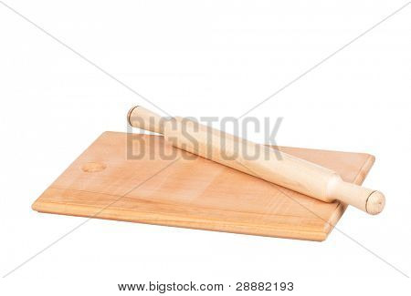 Wooden hardboard with rolling pin isolated on white background