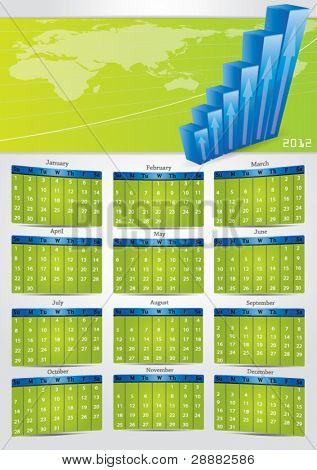 2012 vector gray calendar with financial banner