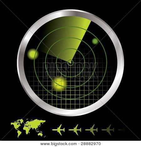 Aircraft radar for airport with world map and plane icon
