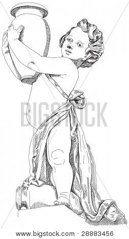 Infant with a pitcher. Black and white illustration. Decorative element of the facade of a historic building in Prague. Czech Republic. Vector sketch