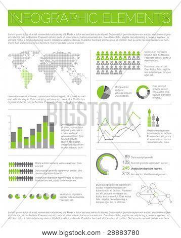große Vektor Satz der Infographik Elemente für Ihre Dokumente und Berichte (leichte grüne Version)