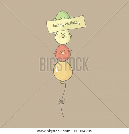 Birthday card with cute birds flying on a balloon. Vector.