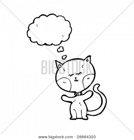 funny cartoon cat with thought bubble and huge head