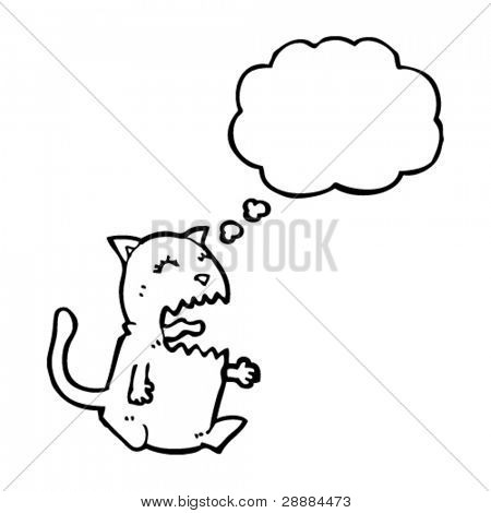 cat with thought bubble having tantrum