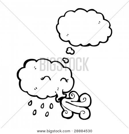 storm cloud blowing gale with thought bubble
