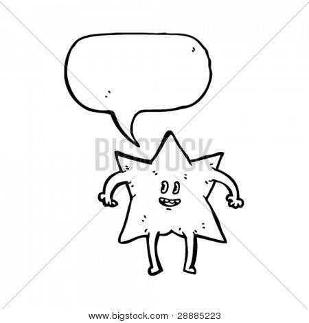 personaje de dibujos animados estrellas kitsch con el bocadillo de diálogo