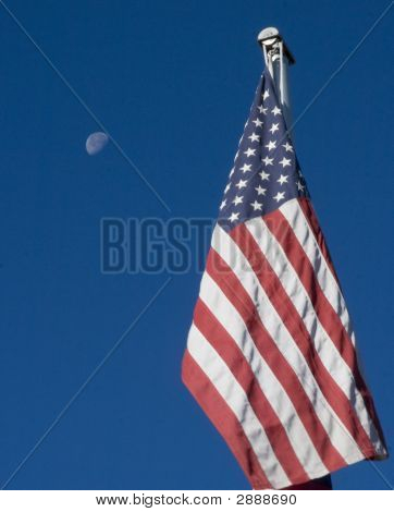 American Flag And Moon