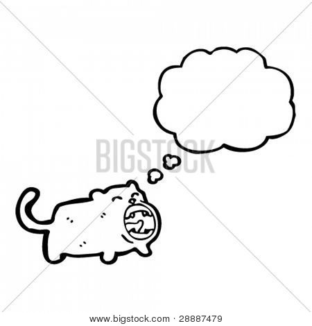 funny yawning cat with thought bubble