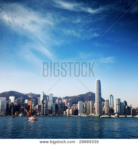 modern city with blue sky (Hongkong)