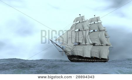 ship in stormy ocean