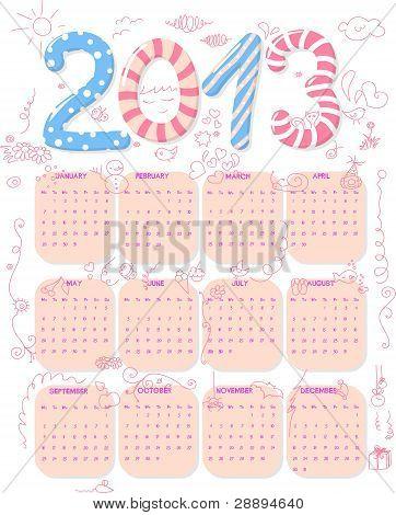 Cute 2013 Calendar