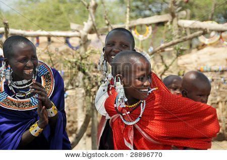 OLDUVAI GORGE, TANZANIA, DECEMBER 23, 2011 Masai women talking to each other