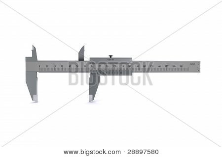 metal calipers standing horizontally