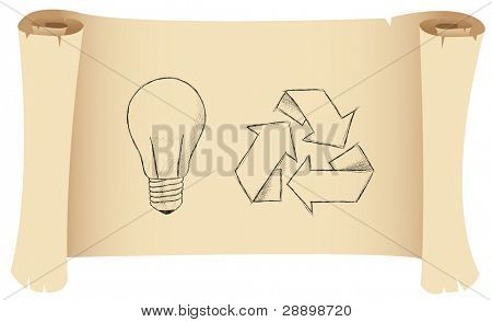 a sketch of a lightbulb and recycling symbol