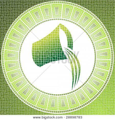 Element air: aquarius zodiac sign on a mosaic