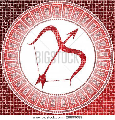 Element fire: sagittarius zodiac sign on a mosaic