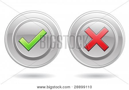 ok sign and error sign isolated on a white background