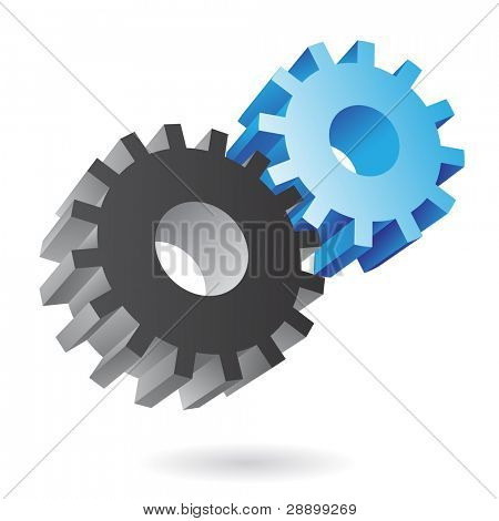 3d blue and black cogs on white background
