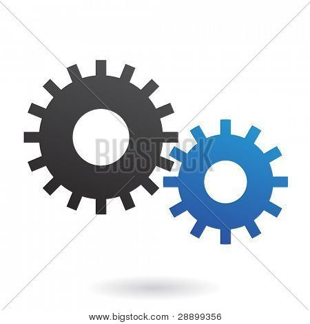 Blue and black cogs on white background
