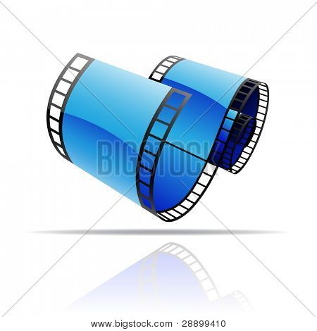 Blue film reel isolated on white