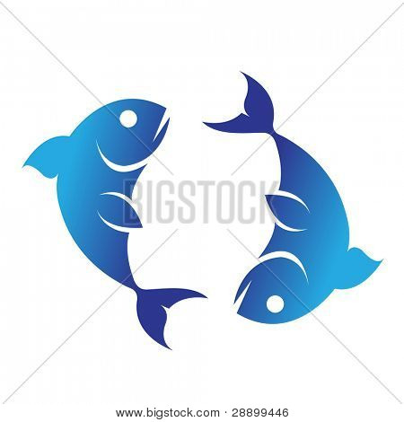 Zodiacs blue pisces isolated on white