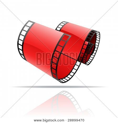 Red film reel isolated on white
