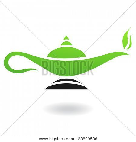 Line art green and black magic lamp isolated on white