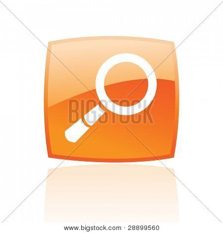 Lupa brillante en el botón naranja aislado en blanco