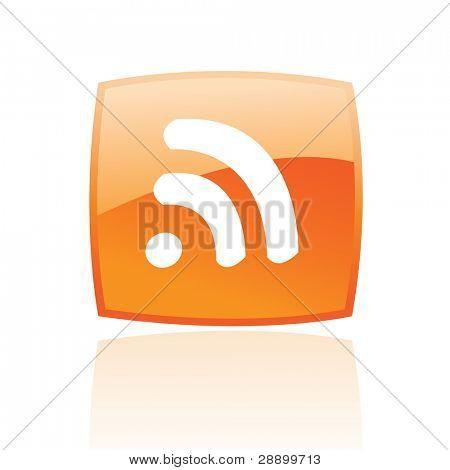Rss brillante en el botón naranja aislado en blanco