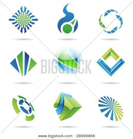 Various blue and green abstract icons isolated on a white background