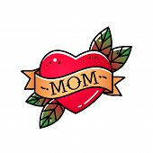 Heart With Ribbon And Inscription Mom. Greeting Retro Greeting Card Element For Mothers Day. Vintag poster
