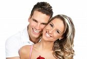 foto of love couple  - Young love couple smiling - JPG