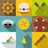 Sea Adventure Icons Set. Flat Set Of 9 Sea Adventure Icons For Web With Long Shadow poster