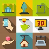 Creation On A 3d Machine Icons Set. Flat Set Of 9 Creation On A 3d Machine Icons For Web With Long S poster