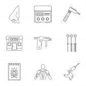Tattoo Salon Icon Set. Outline Set Of 9 Tattoo Salon Icons For Web Isolated On White Background poster
