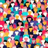 International Womens Day Seamless Pattern Of Diverse Women Faces. Colorful Girl Group Background For poster