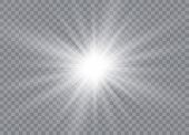 Glow Light Effect. Star Burst With Sparkles. Sun. Vector Illustration poster