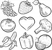 foto of tangelo  - Doodle style healthy fruits and vegetables sketch in vector format - JPG