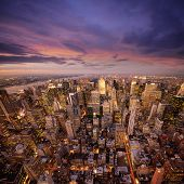 image of new york skyline  - Big Apple after sunset  - JPG
