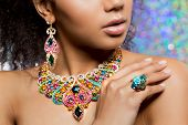 Beautiful model girl with set of Jewelry. Luxury girl in shine jewellry: Eearrings, Necklace, and Ri poster