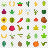 Botany Icons Set. Cartoon Style Of 36 Botany Vector Icons For Web For Any Design poster