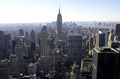 image of empire state building  - view of empire state building and downtown manhattan from the roof of the building - JPG